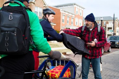 Curt, giving out a moving blanket last year